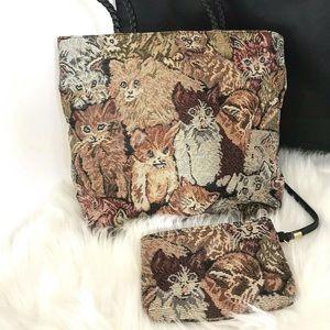 Vintage Cat Tote Tapestry Bag & Wallet BB3